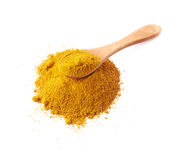 Spoon over the pile of curry powder Royalty Free Stock Image