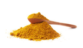 Spoon over the pile of curry powder Stock Photography