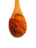 Spoon of paprika. Isolated over white Royalty Free Stock Images
