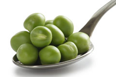 Spoon of Peas. Spoon of green peas - natural medicine Royalty Free Stock Photography