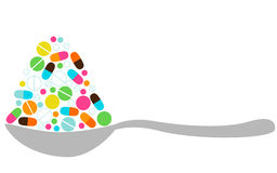 Spoon With Pills Royalty Free Stock Photos