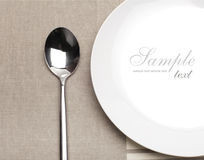 Spoon and plate Royalty Free Stock Photo