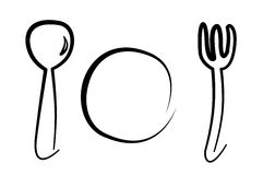 Spoon, plate and fork Stock Images