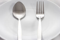 Spoon plate fork Royalty Free Stock Images