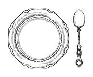 Spoon and plate for soup vintage sketch. vector illustration.  Royalty Free Stock Photos