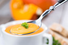 Spoon with Pumpkin Soup Stock Photography