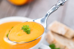 Spoon with Pumpkin Soup Royalty Free Stock Photo