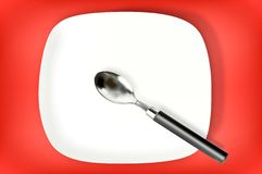 Spoon on red background Royalty Free Stock Photography