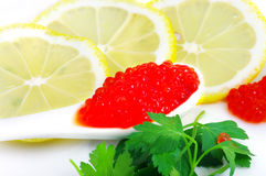 Spoon with red caviar Stock Photo