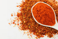 A spoon of red chili powder Stock Images