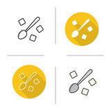 Spoon with refined sugar cubes icon. Flat design, linear and color styles. Teaspoon with sugar  vector illustrations Royalty Free Stock Image