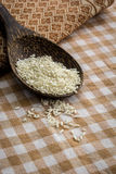 Spoon rice on cotton Royalty Free Stock Image