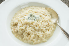 Spoon with risotto and gorgonzola Royalty Free Stock Image