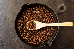Spoon roasting coffee beans in a pan Royalty Free Stock Image