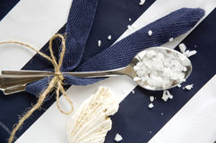 Spoon of sea salt Royalty Free Stock Image