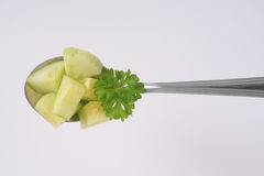 Spoon of sliced cucumber Stock Photography