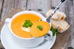 Spoon with Soup (Macro Shot) Royalty Free Stock Photos