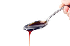 Spoon of Soya Sauce Ketchup Stock Photos