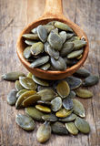 Spoon of squash seeds Royalty Free Stock Images