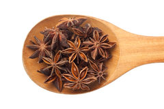 Spoon with star anise Stock Photo