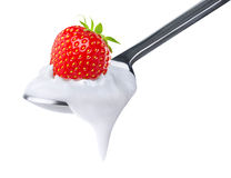 Spoon of strawberry yoghurt Royalty Free Stock Photos