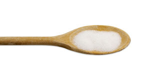 Spoon with sugar. Wooden Spoon with milled sugar Stock Image