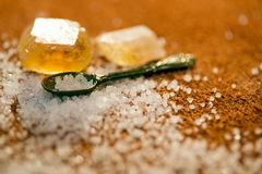 Spoon with sugar Stock Photos
