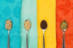 Spoon of sunflower sesame fennel mustard seeds for macrobiotic food Stock Images