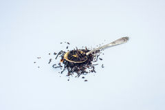 Spoon with tea. Brewing and spoon. Stock Photography