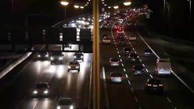 Freeeway Traffic at Night in Berlin. Fast Motion.  stock footage