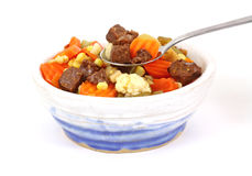 Spoon of Vegetable Beef Soup Stock Images