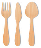 Spoon wood, knife wood and fork wood vector on white. Background Royalty Free Stock Images
