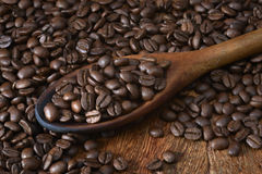 Spoon of Coffee Beans Stock Images