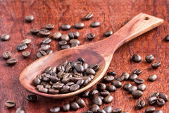 Spoon wood with seed coffee Royalty Free Stock Photos