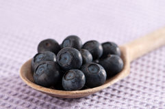 Spoonful Of Blueberries Royalty Free Stock Image