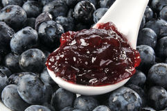 Spoonful of blueberry jam Stock Photography