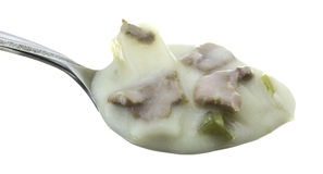 Spoonful of cheesesteak soup Stock Images