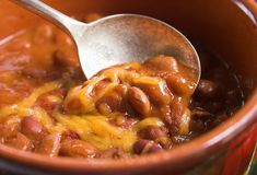 Spoonful of chili Stock Image