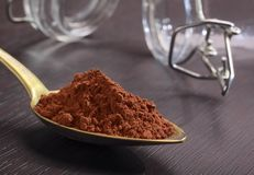 Spoonful of cocoa powder Stock Image