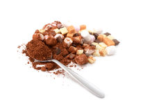 Spoonful of cocoa with toppings for hot chocolate Stock Image