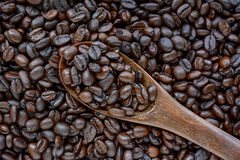 Spoonful of coffee beans on coffee bean heap Stock Photography