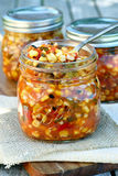 Spoonful of Corn Salsa. Spoonful of roasted corn salsa Royalty Free Stock Photo