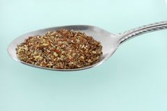 Spoonful of Flax Meal. A spoonful of nutritious flax seeds and meal Royalty Free Stock Image