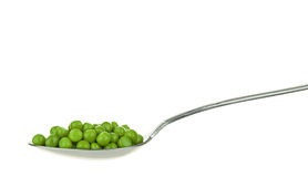 A spoonful of fresh green peas Royalty Free Stock Image
