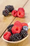 Spoonful Of Fruit. Spoonful of ripe summer berries on rustic table Royalty Free Stock Images