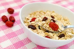 Spoonful of healthy and n utritious oatmeal Stock Photo