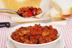 Spoonful Of Hearty Chili Royalty Free Stock Photos