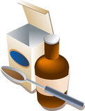 Spoonful of medicine. A spoonful of medicine in syrup form, with bottle and package Stock Photos