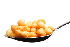 Spoonful of Soup Croutons Stock Photo