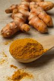 Spoonful turmeric powder Royalty Free Stock Photography
